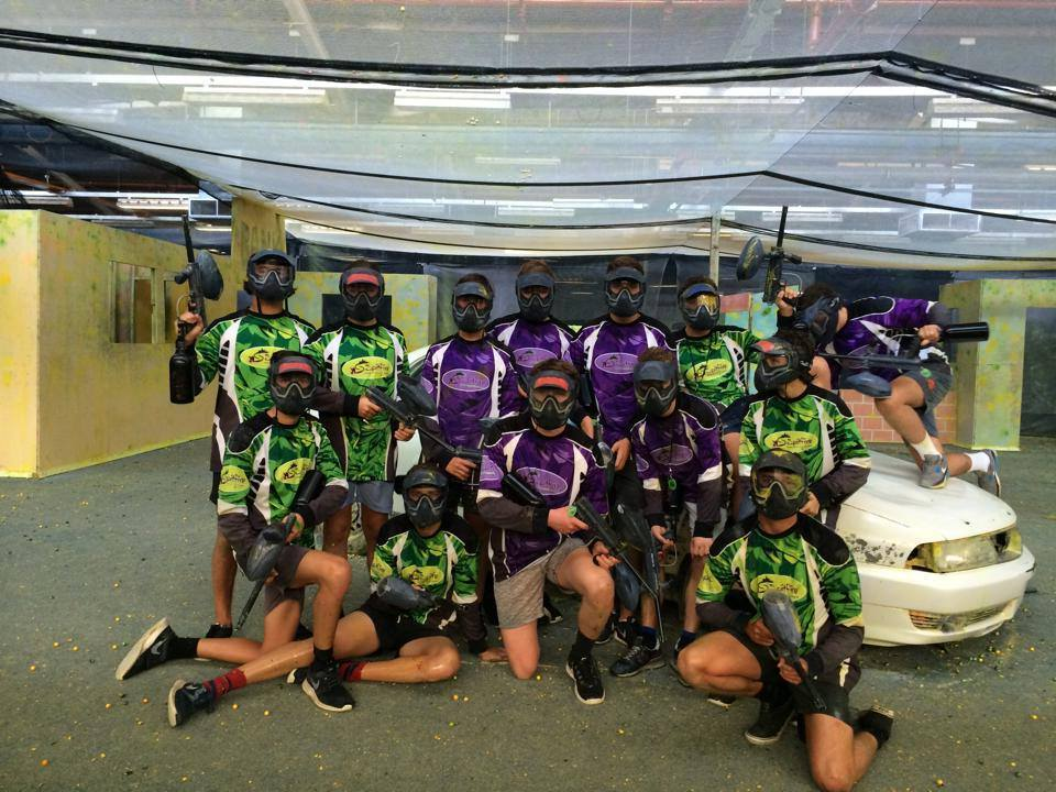 Group of paintballers