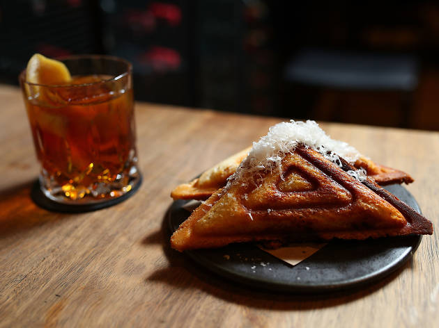 A jaffle and a cocktail