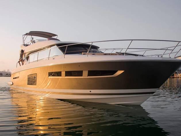 Luxury yacht moored in east London