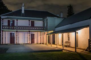 Haunted house at night