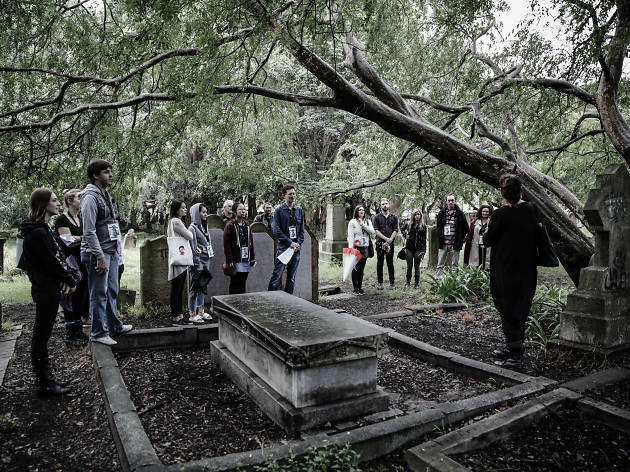 Group of people standing around a graveyard