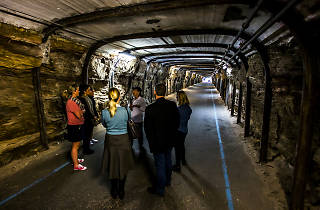 Ghost tour group inside a tunnel