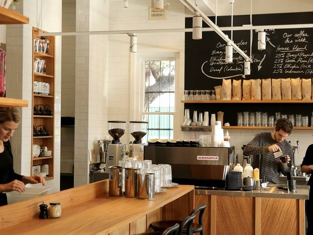 Barista pouring coffee at West Juliett