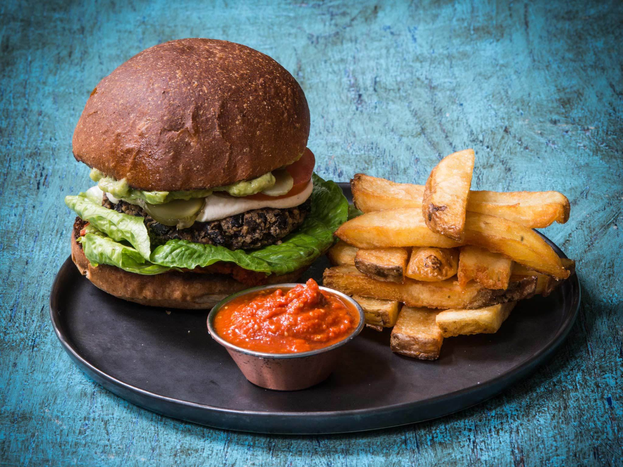 Farmacy veggie burger with sweet potato fries