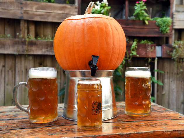 This Lower East Side beer garden has kegs made out of pumpkins