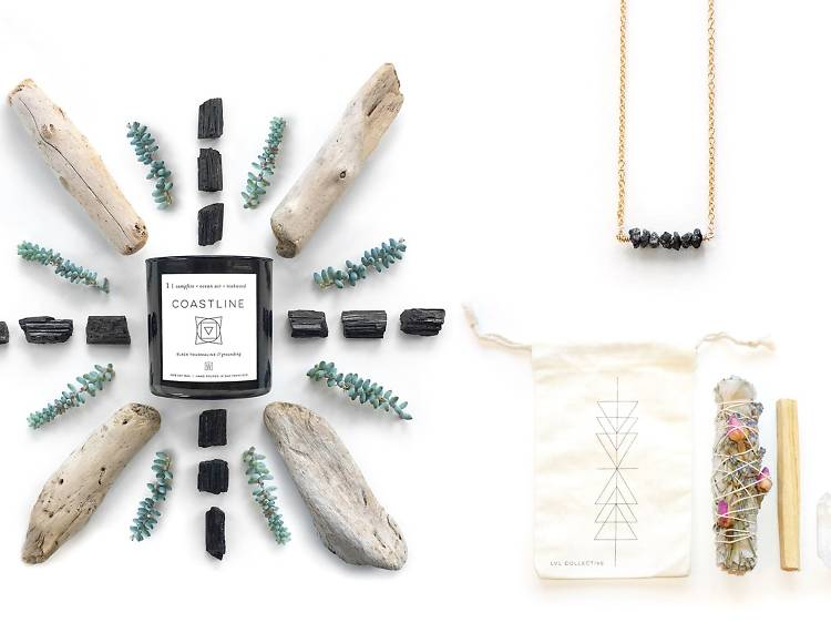 Raw black diamond necklace, candle and cleansing kit from LVL COLLECTIVE, $108