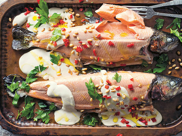 Baked rainbow trout with tahini and pine nuts_Alan Benson Photography.jpg