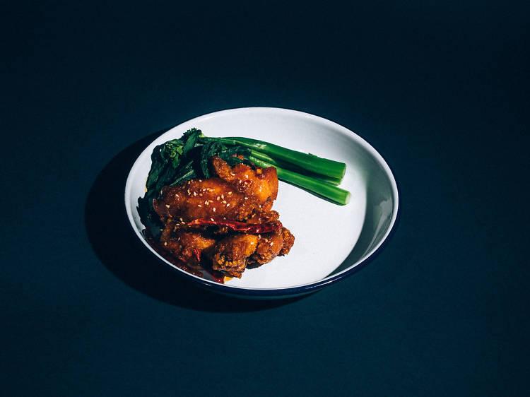 General Tso's chicken wings at Atlantic Social
