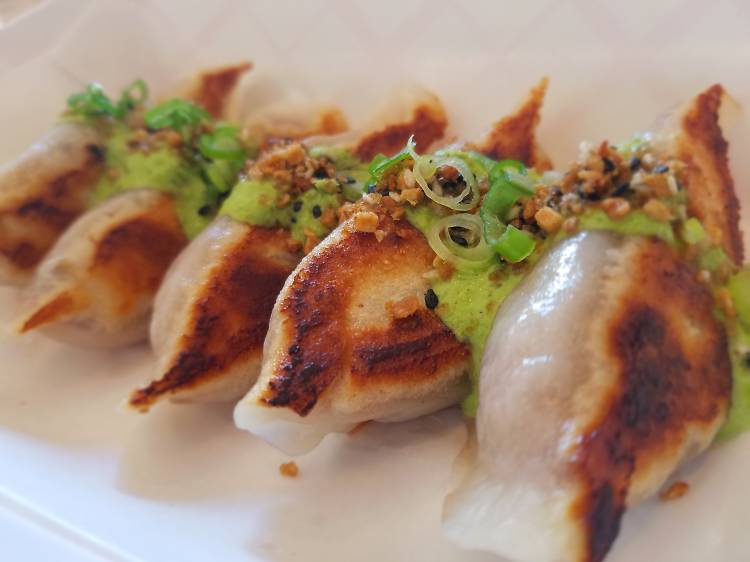 Shanghai vegetable dumplings atEast Wind Snack Shop