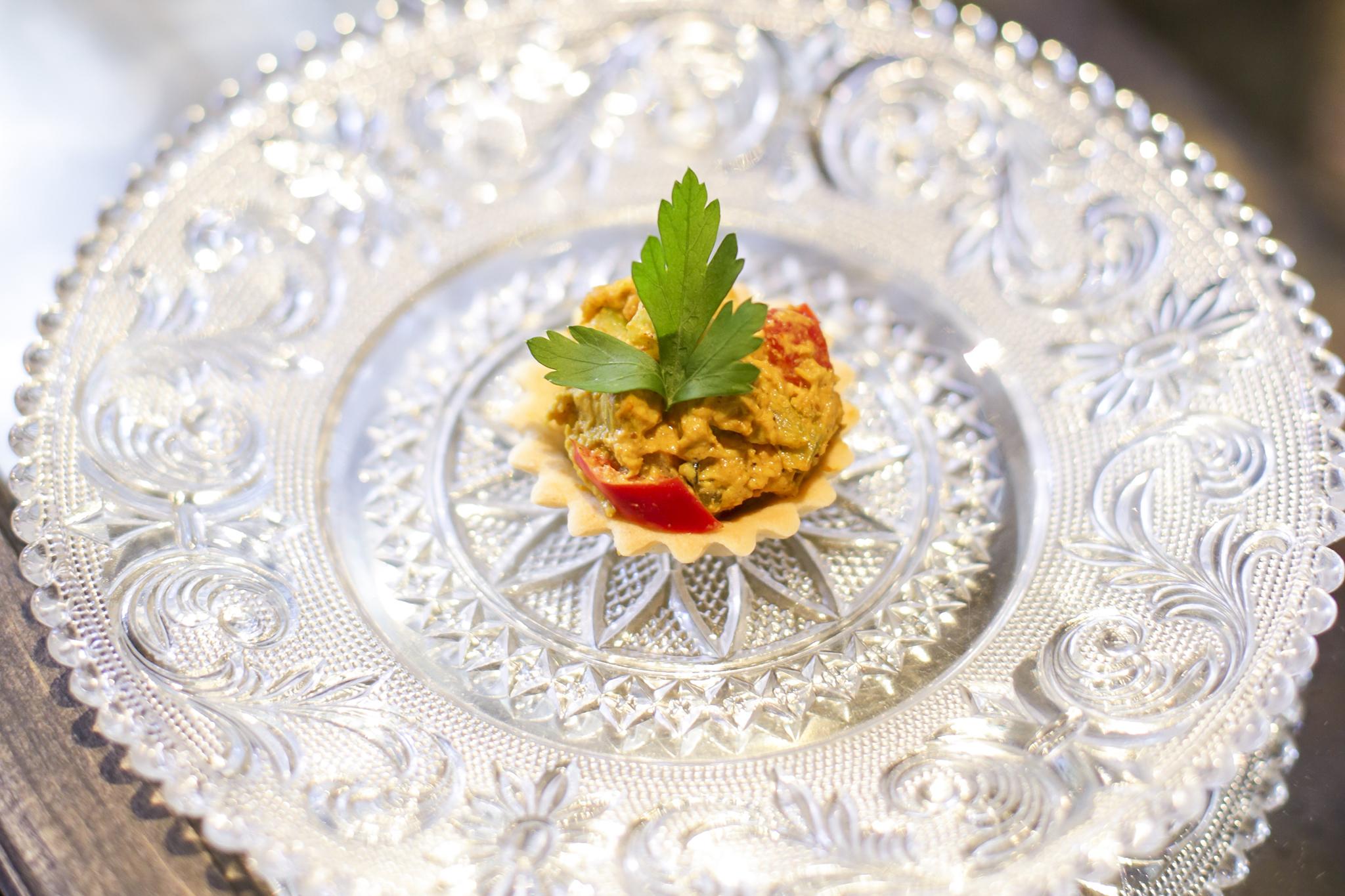 Chicken curry salad tarts atJanamTea