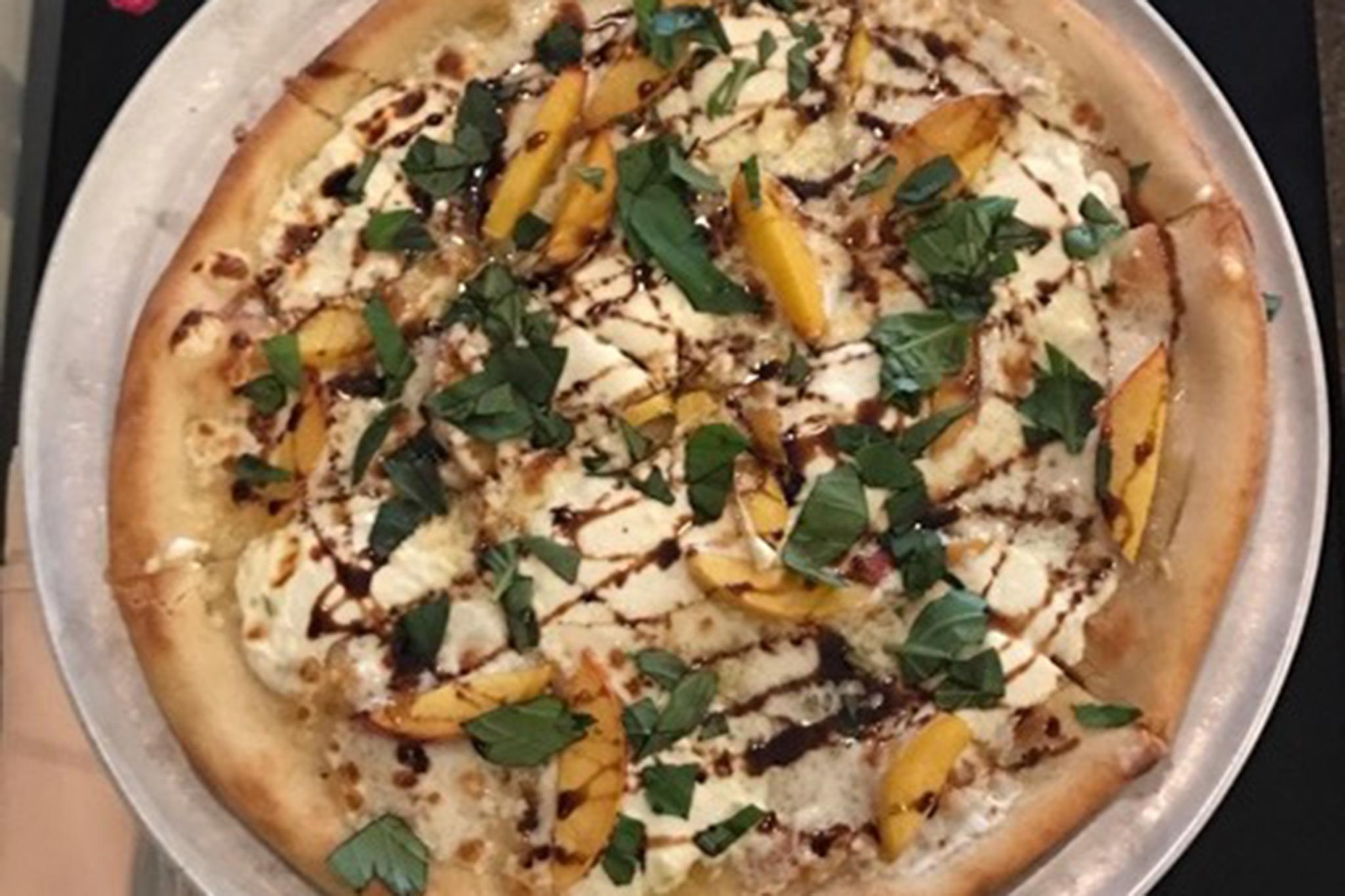 Peach balsamic pizza at Moss Café