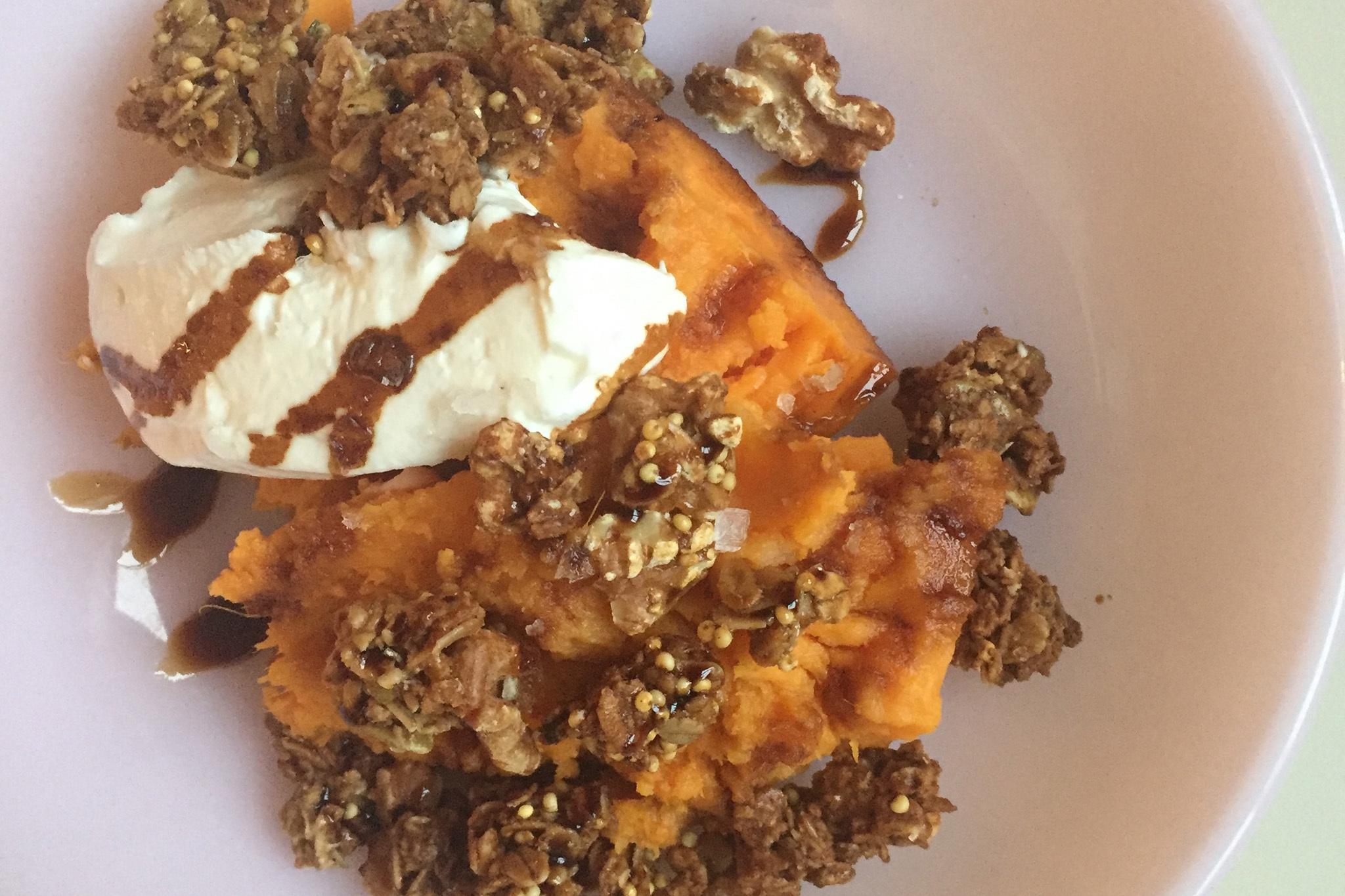 Roasted yam and granola atLalito