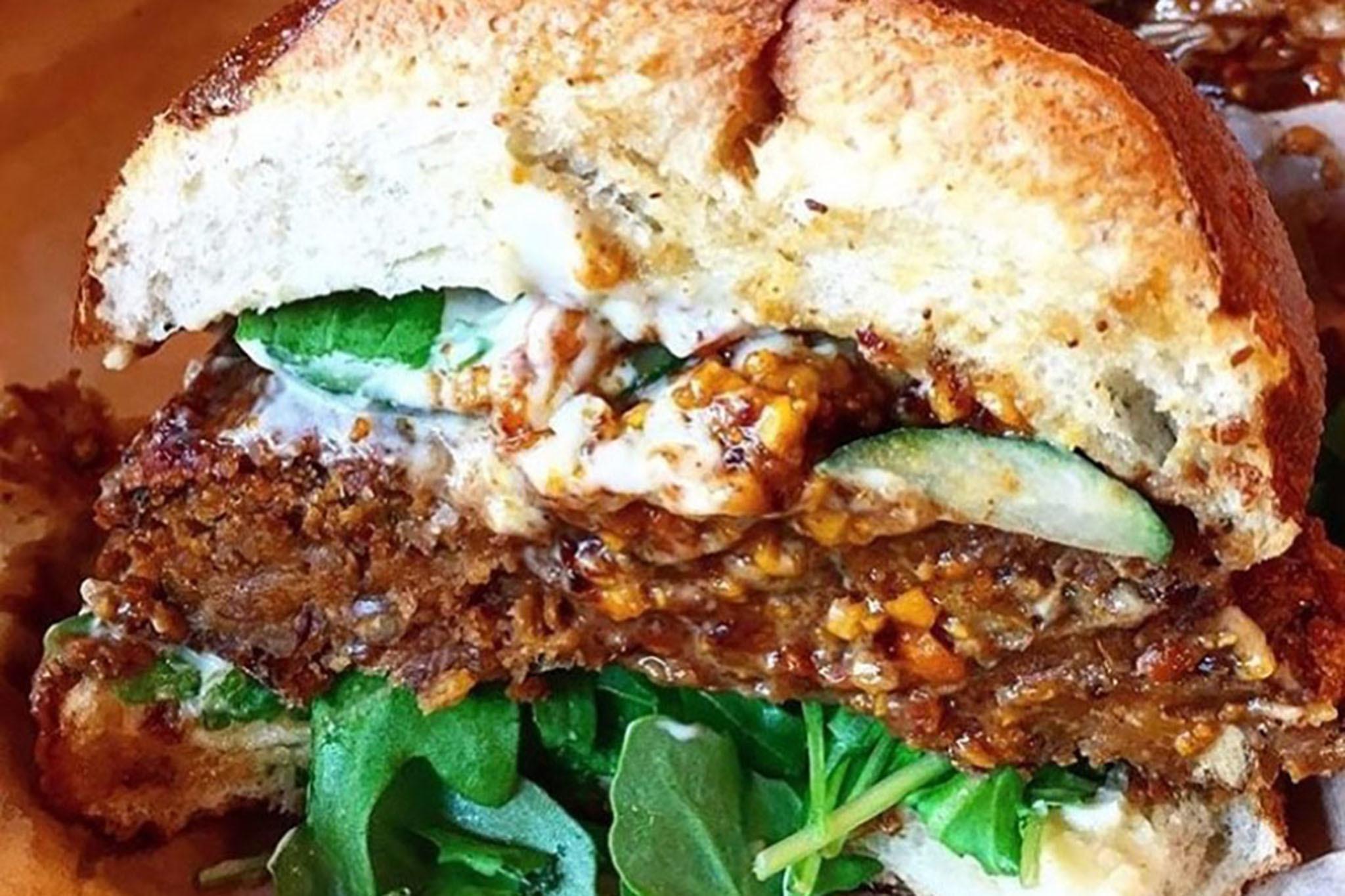 Tamarind plum glazed lentil burger at the CinnamonSnail