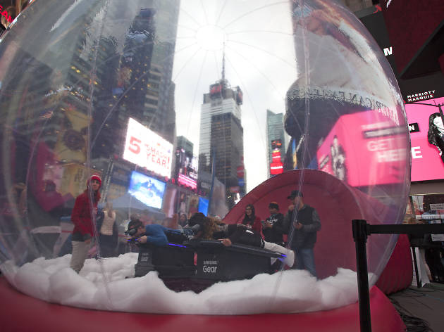 A one-day Winter Olympics festival popped up in Times Square today