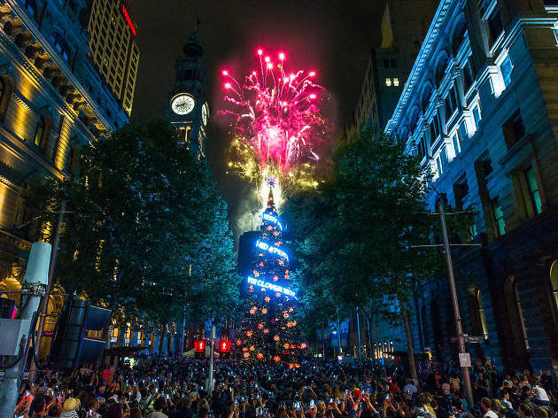Martin Place Christmas Fireworks