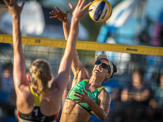 Beach volleyball players in action