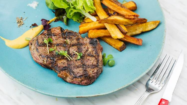 Feather and Bone steak and fries