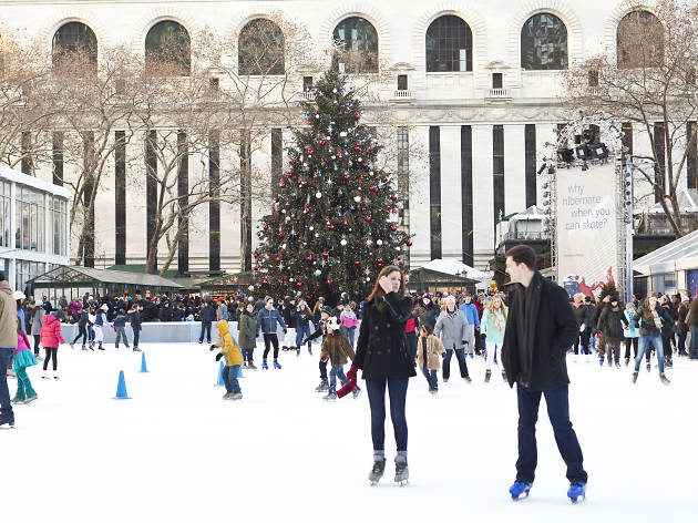 Ice skating at Bank of America Winter Village at Bryant Park