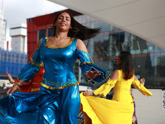 Dancers in colourful national dress