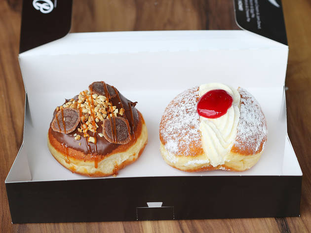 Two donuts in a box at Daniel's Donuts