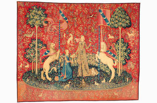 The Lady and the Unicorn 2018 Art Gallery of New South Wales supplied image 02 Taste c1500 from The Lady and the Unicorn series Musée de Cluny – Musée national du Moyen Âge Paris Photo © RMN-GP and M Urtado