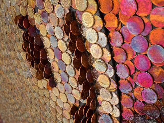 Yaw Owusu, (Detail) Resurrence, 2017, Coins on Plywood, 52 in diameter. Image courtesy of the artist and Gallery 1957, Accra