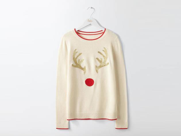 Women's red-nose reindeer jumper by Boden, £75
