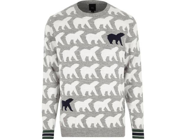 Men's grey polar bear knit jumper by River Island, £28