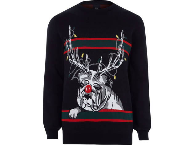 Men's black reindeer bulldog knit jumper by River Island, £28