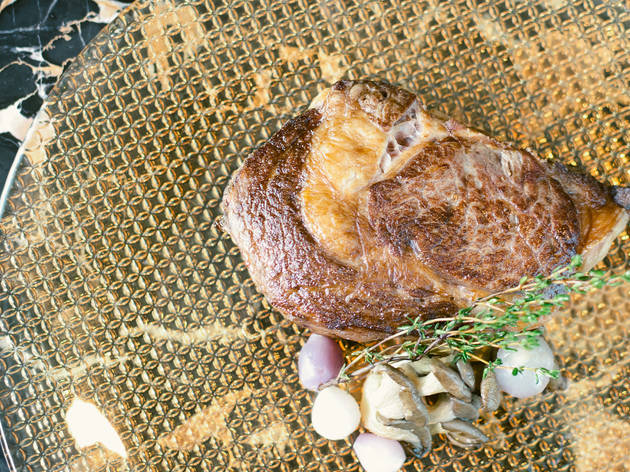 <p>La Boucherie on 71's 42-day dry-aged rib-eye steak</p>