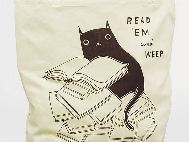 """Read 'Em and Weep"" Black Cat Book Tote"