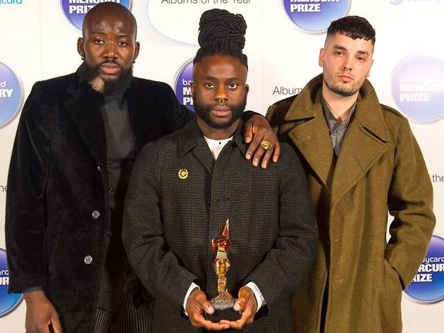 Winners of the Mercury Music Prize 2014 Young Fathers, 'G' Hastings, Alloysious Massaquoi and Kayus Bankole in the press room at the Mercury Music Prize 2014 ceremony, at the Roundhouse, in Camden, north London.Photo: Dominic Lipsinki.Copyright: