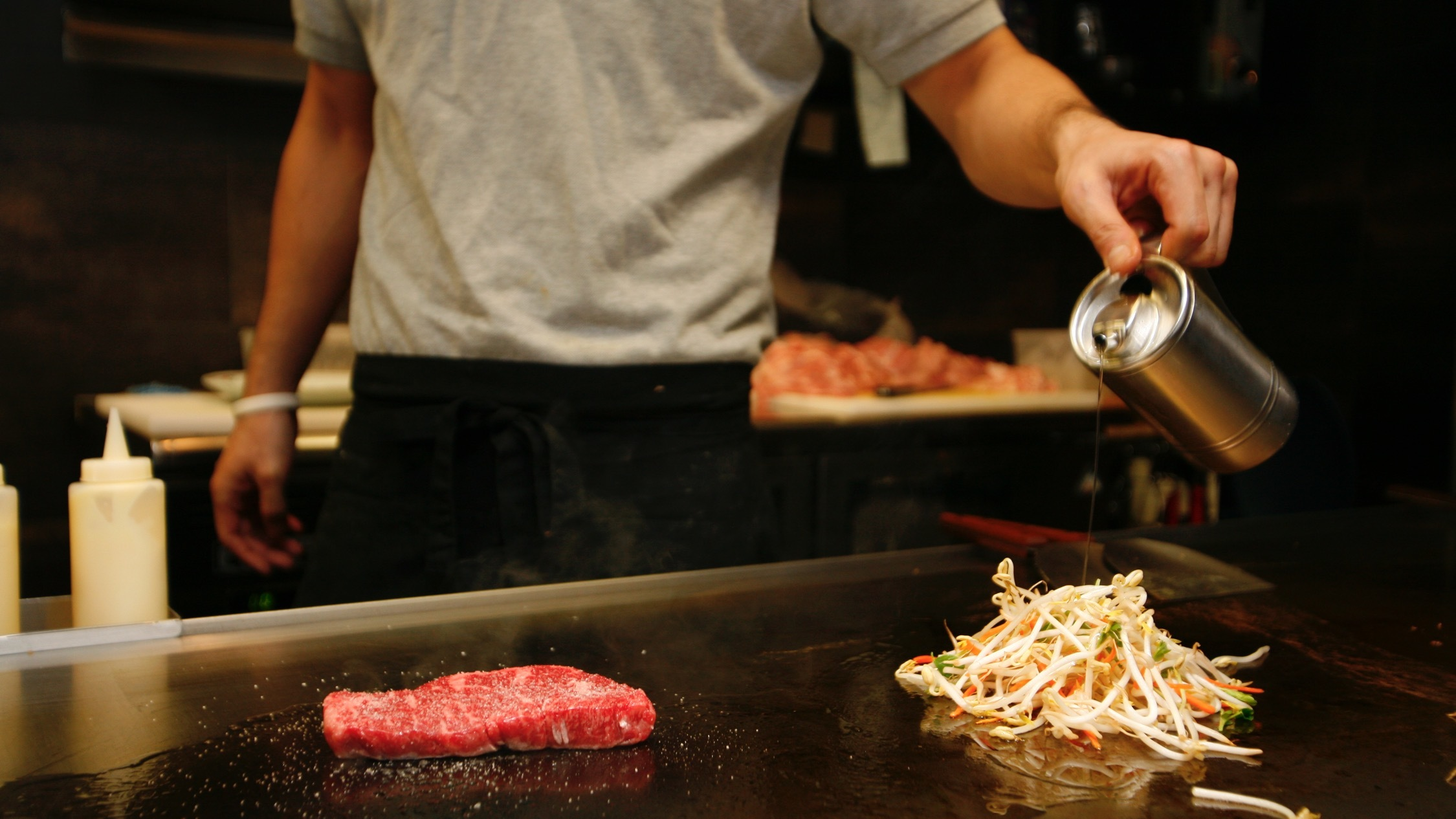 Food cooking on the grill at Jugemu and Shimbashi