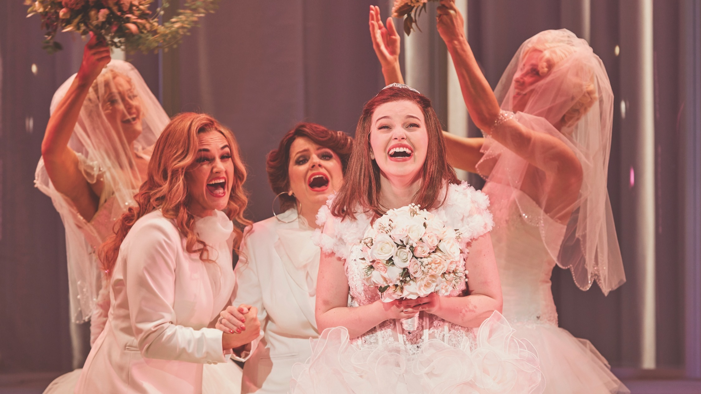 Hilary Cole, Helen Dallimore and Maggie McKenna in Sydney Theatre Company and Global Creatures Production of Muriel's Wedding the Musical