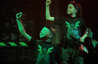 Two young actors from ATYP's Wonder Fly perform