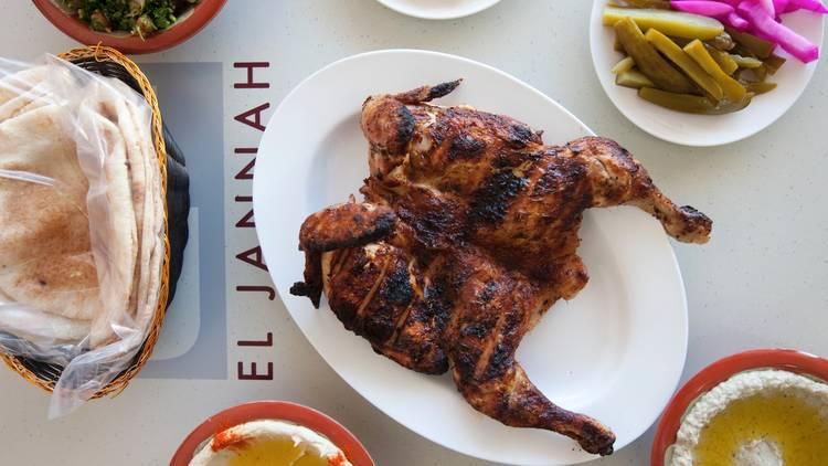 Plates of food at El Jannah