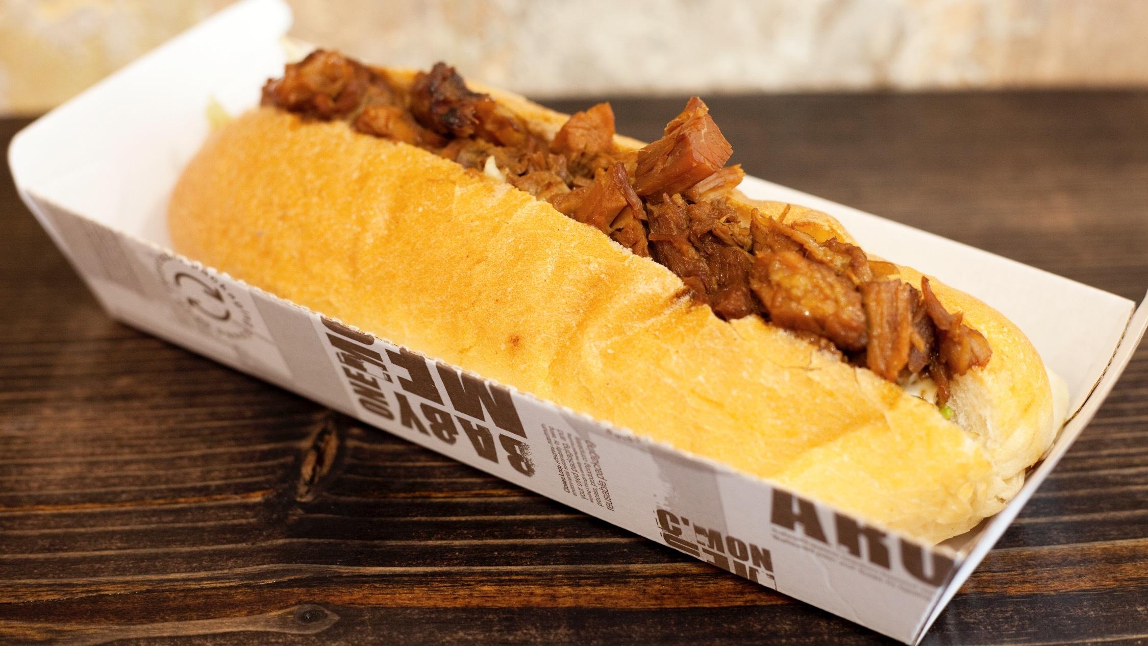 Crackles classic roast pork roll at Mr Crackles Carryout, $14.50