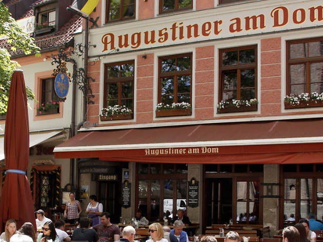 Eat Schweinshaxe with Knoedeln at Augustiner am Dom