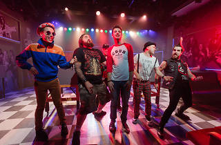 Toby Francis and cast members perform in High Fidelity