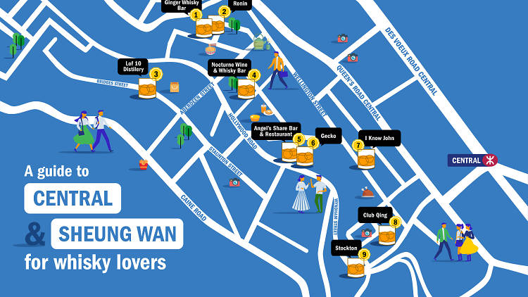 whisky map of central and sheung wan