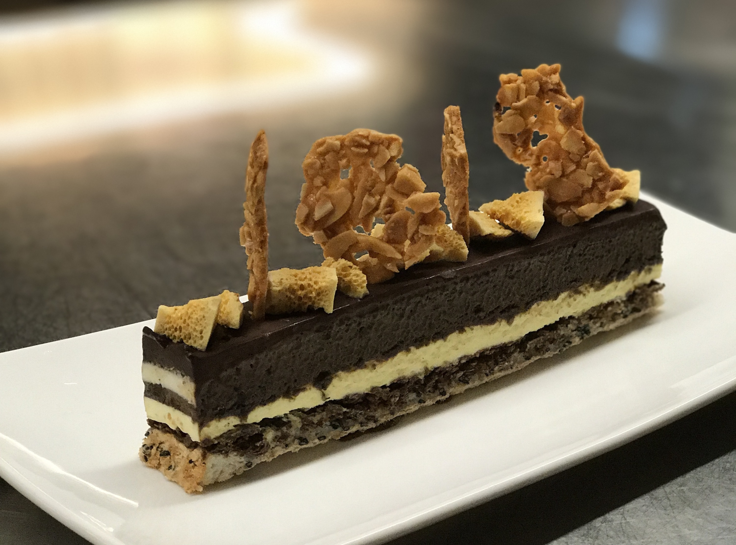 Tahini chocolate mousse with honeycomb and peanut tuiles from Foo Foo Fine Desserts