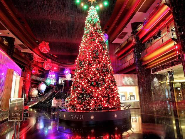 Huge Christmas tree with lights at Crown