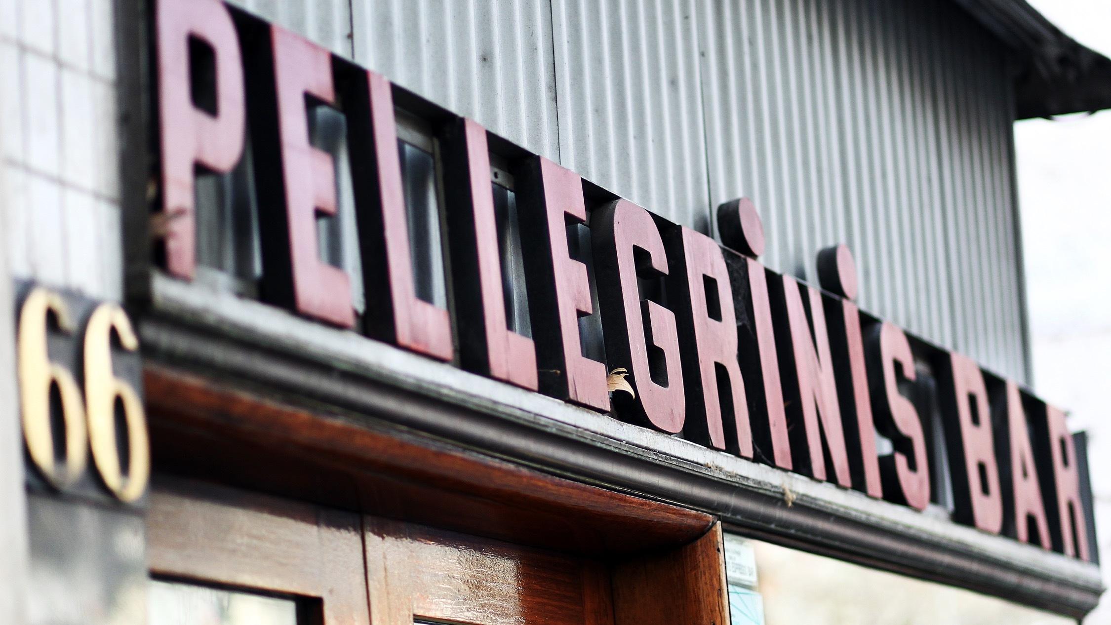Sign outside at Pellegrini's Espresso Bar