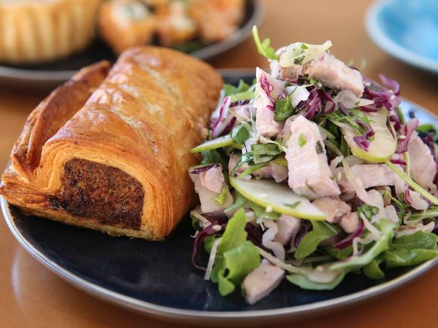 Sausage roll and salad at Black Star Pastry