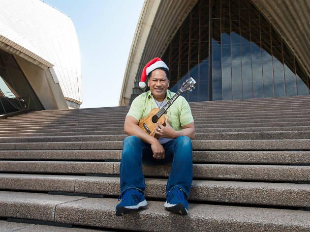 Jay Laga'aia on the steps of the Opera House