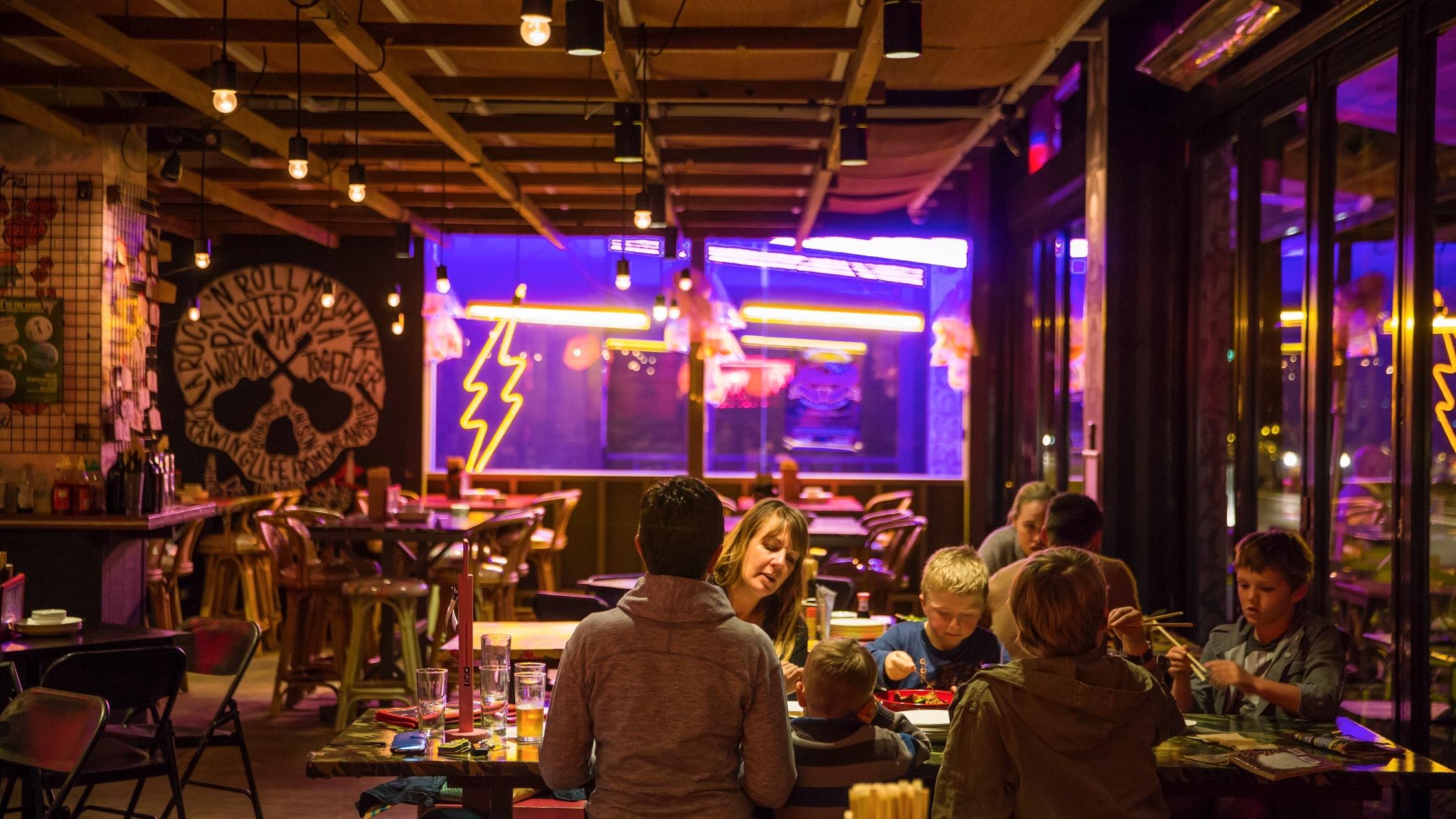 Customers eating inside at Daniel San