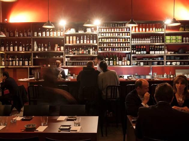 Customers inside drinking at Izakaya Fujiyama