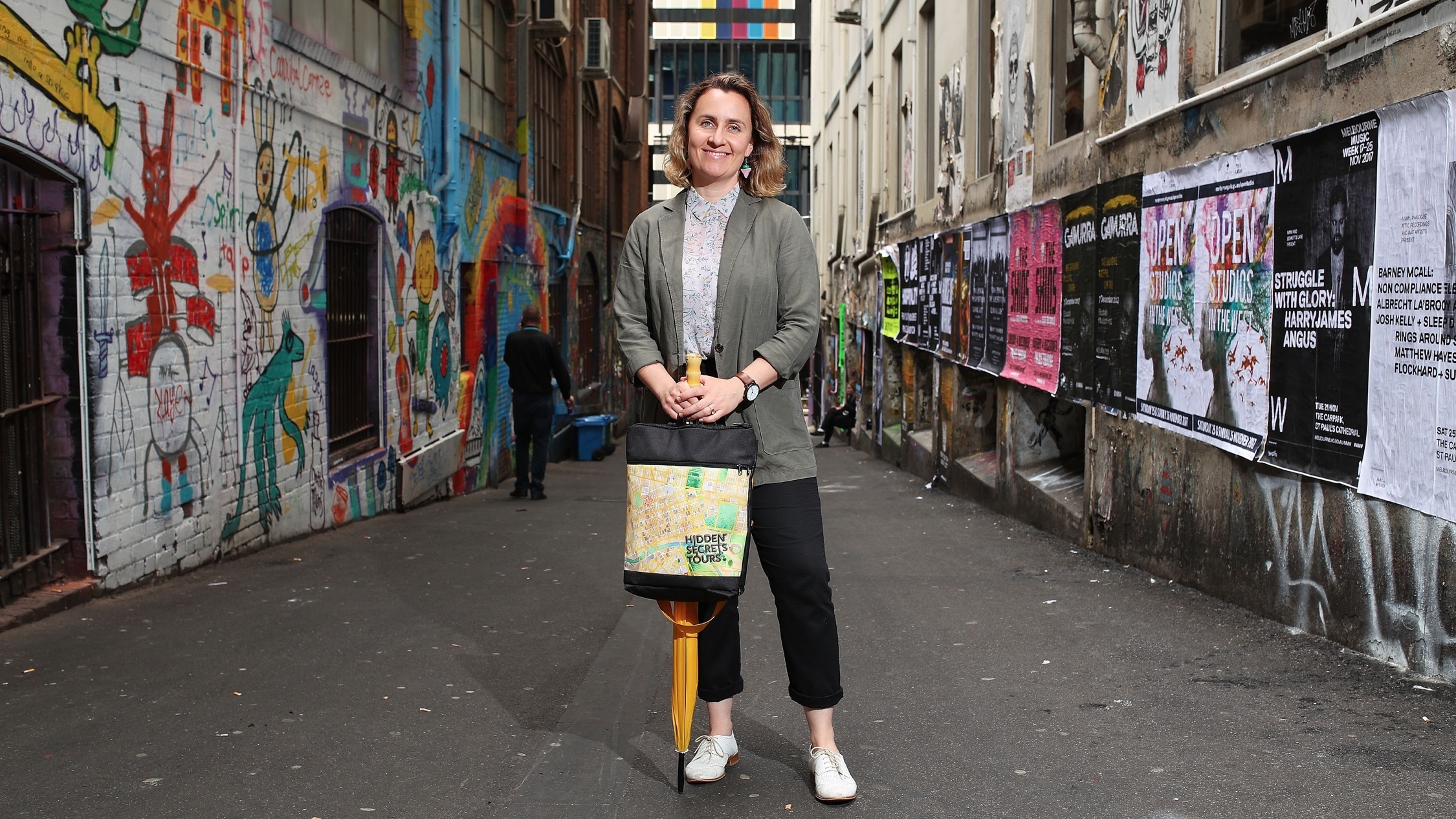 Zoe MacDonald in Melbourne alley way at Hidden Secrets Tours