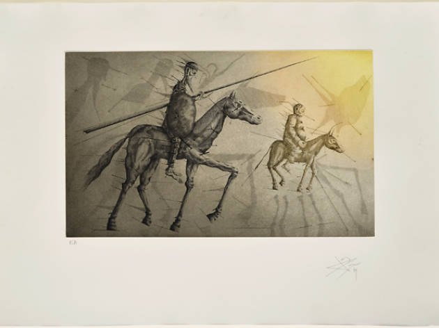 Don Quichotte suivant Sancho, X Aguafuerte, 1979