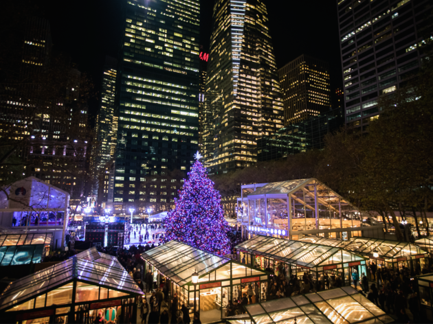 The Bryant Park Winter Village's Christmas tree will be lit up on Friday
